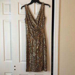 Gold Sequin Ralph Lauren Cocktail Dress